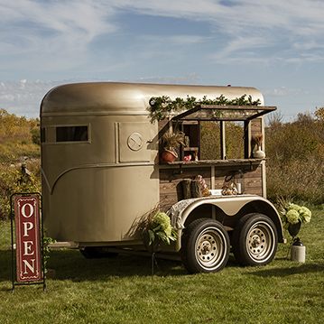 Vintage horse trailer converted to elegant mobile bar