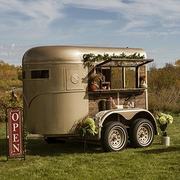 Vintage horse trailer converted to elegant mobile bar